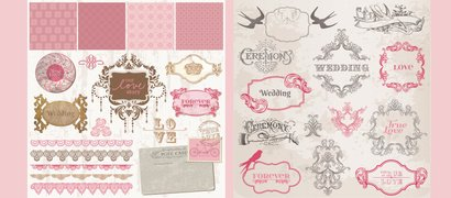 Vintage Wedding Card Invitation Vectors