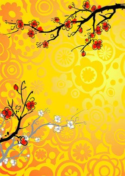 Chinese painting style plum