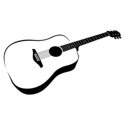 Hand Traced Black & White Guitar