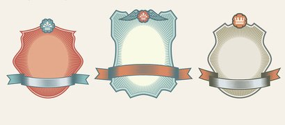 9 Vintage UI Labels with Ribbon Banners