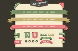 Retro Web Ribbons Vintage Psd Pack