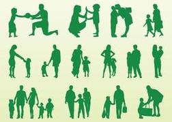 Kids And Parents Silhouettes