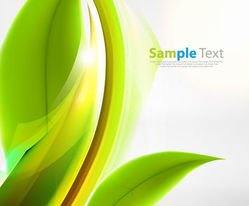 Green Abstract Eco Background with Leaf & Curves