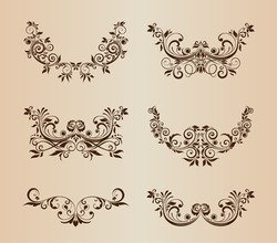 Vector Set of Floral Decorative Ornament Elements