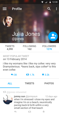Twitter Profile using Material Design