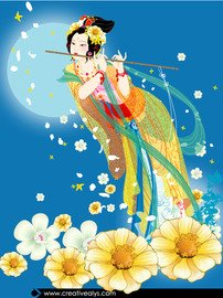 Floristic Lady with Flute