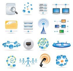 sophisticated technology blue icon