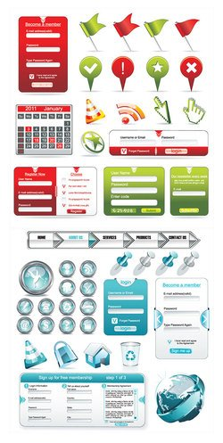 Web Design Commonly Used Elements Vector Web Design Elements Labels Buttons