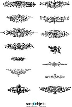 14 Vector Floral Ornaments Pack 02