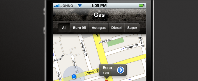 Fuel Station Finder App PSD