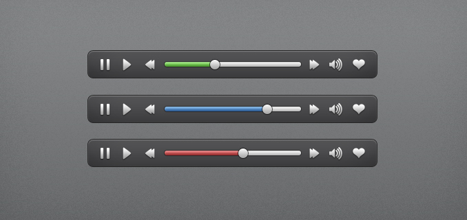 Audio Video Media Player Interface Element PSD UI
