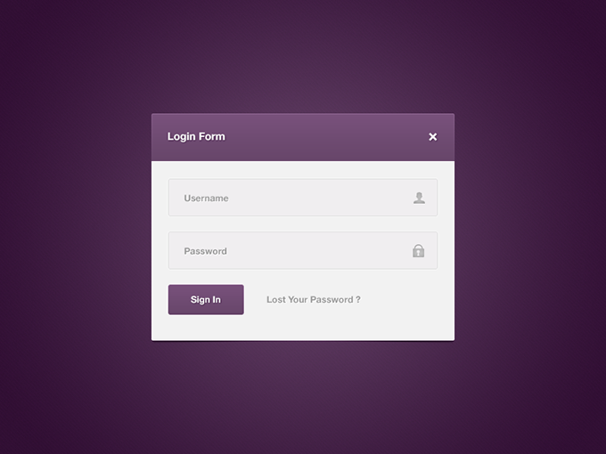 Login Form PSD free