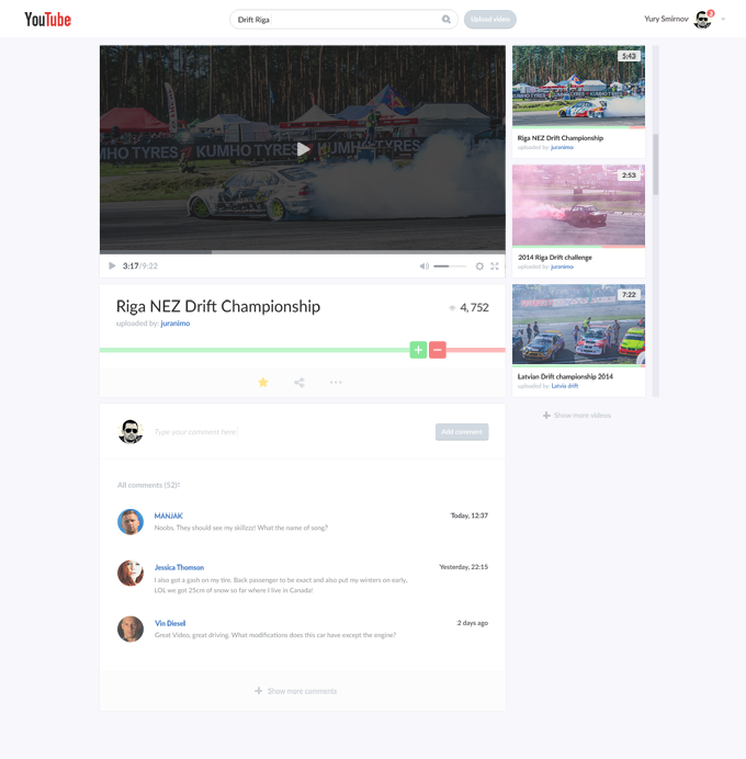 Youtube video page   redesign