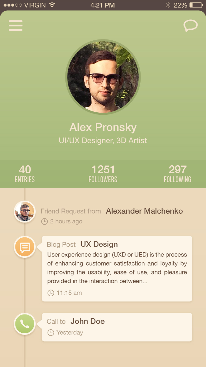 User Profile Iphone 6 App Ui Freebie Psd Vector 365psd Com